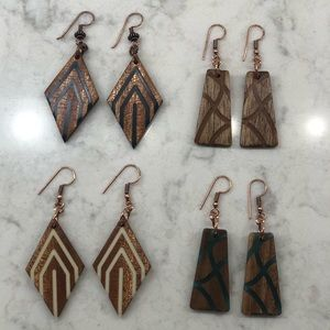 Hand crafted wooden earrings!!